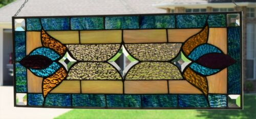 Victorian Style Stained Glass Window Transom  (10.25 x 26.25 )