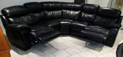 Black Leather Corner Lounge with Recliners Sheidow Park Marion Area Preview