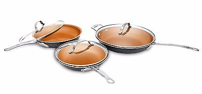Gotham Steel Nonstick Copper 6  Piece Fry Pan Set 9 5  11 And 12 5 Inch W  Lids