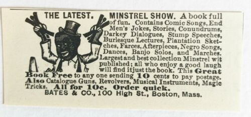 Original 1895 LATEST MINSTREL SHOW BOOK Vtg Classified Print Ad~Black Americana