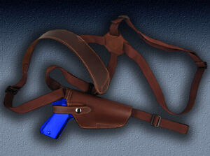 Barsony Brown Leather Vertical Shoulder Holster for GLOCK 17 20 21 22 24 25 31