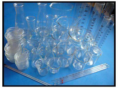 Lab Glassware Glass Kit Pyrex Glass Beaker Erlenmeyer Flask Measuring Cylinder