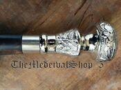 Vintage Antique Walking Cane Wooden Walking Stick Silver Brass Handle Knob Gift