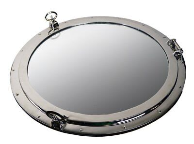 """Porthole Mirror  29"""" Nickel Finish over Solid Brass Wall M"""