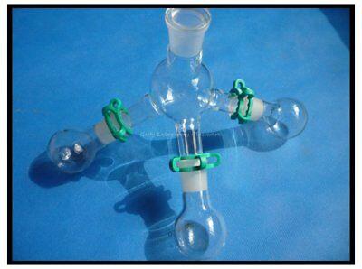 Lab Glass Short-path Distillation Receiver Kit W Three 50ml Flaskslab Glassware