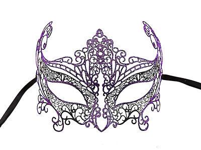 Mask Lace - Metal of Venice Bright Purple Fancy Dress Venetian 709
