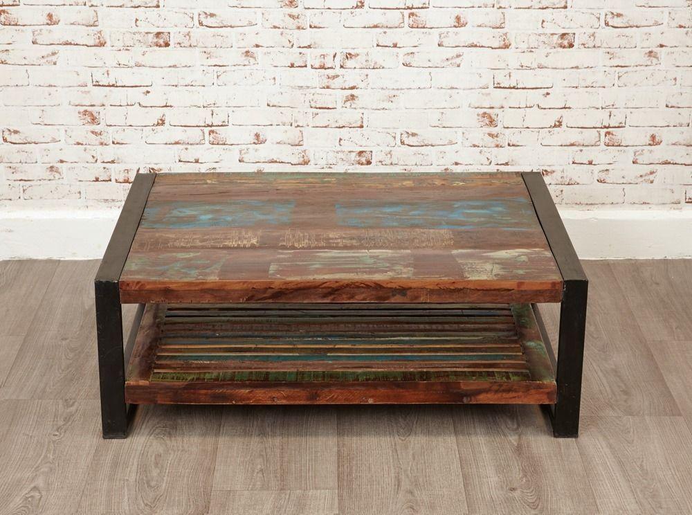 Java Rustic Industrial Rectangular Coffee Table