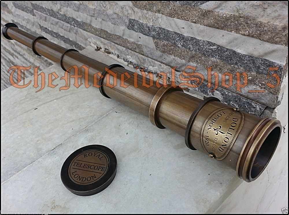"16/"" MARINE NAUTICAL ANTIQUE NAVY BRASS PIRATE LEATHER TELESCOPE SPYGLASS VINTAGE"