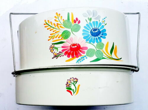 The Carlton Cake Saver, Vintage 3 Section Mid-Century Tin, Hand Painted Design