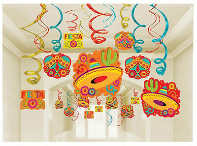 30 Fiesta Hanging Swirl Decoration Ceiling Danglers Party Supply Cinco de Mayo