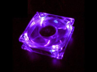Purple Quad 4-LED Light Neon Quite Clear 80mm PC Computer Case Cooling Fan Mod