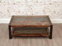 Rustic Industrial Rectangular Coffee Table Reclaimed Wood