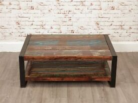 Java Industrial Square Coffee Table with Shelf made from Reclaimed Rustic Boatwood