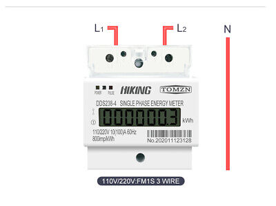 100a 110220v 5060hz Lcd Single Phase 23wire Din-rail Kwh Watt Energy Meter
