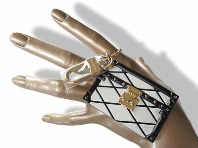 Louis Vuitton Black & White Petite Malle Bag Charm Keyring, NIB!
