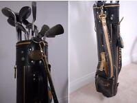 Vintage Leather Golf Bag & 18 Clubs JAGUAR COLLECTION