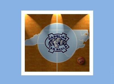 UNC TAR HEELS MID COURT DEAN DOME BASKETBALL LOGO MATTED PHOTO