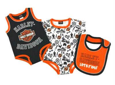Harley-Davidson Baby Boys 2-Pack Creeper Set With Bib 3-Piece Set 3052905  Harley Boys 3 Piece