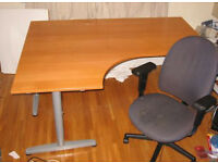 office angle corner desk Ikea Galant with T legs left corner