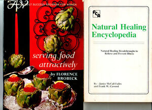 TWO-Books-Vanderbilt-Serving-Food-Attractively-Natural-Healing-Encyclopedia