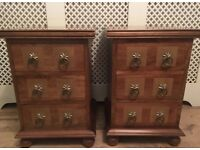 2 x barker & stonehouse bedside cabinets tables 3 drawer