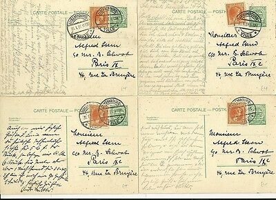 * 1927 x 4  LUXEMBOURG UP-RATED POSTAL STATIONERY 20c CARDS TO PARIS FRANCE