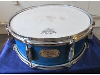 """PEARL ELX EXPORT SELECT SNARE DRUM in Natural Wood """"BLUE MIST"""" Finish 14"""" x 5.5"""""""