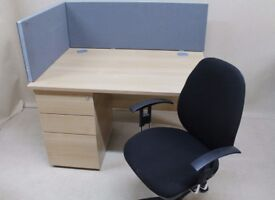 Straight 140 cms office desk and drawers in Leicester
