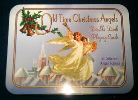 Dual Pack Of 1996 'Old Time Christmas Angels' Picture Playing Cards In Presentation Tin