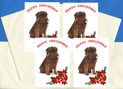 BRUSSELS GRIFFON PACK OF 4 CARDS DOG PRINT GREETING CHRISTMAS CARDS