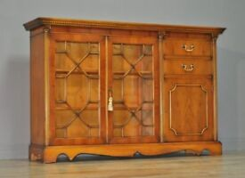 Attractive Regency Style Yew Wood Astral Glazed Floor Standing Bookcase Cabinet