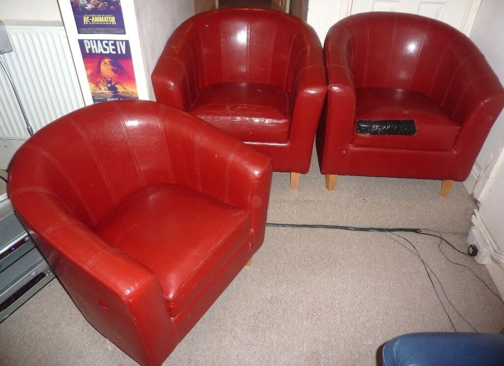 3 DEEP RED LEATHER BUCKET / TUB CHAIRS - WOODEN LEGS - BARGAIN