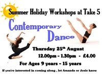 contemporary dance workshop for ages 9 - 15 years