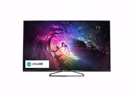 """PHILIPS 50"""" UHD 4K 3D SMART TV WITH FREEVIEW HD"""