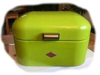 Wesco Single Grandy Powder Coated Steel Bread Bin - Lime Green - as new condition
