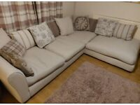 Dfs corner sofa and pouffe