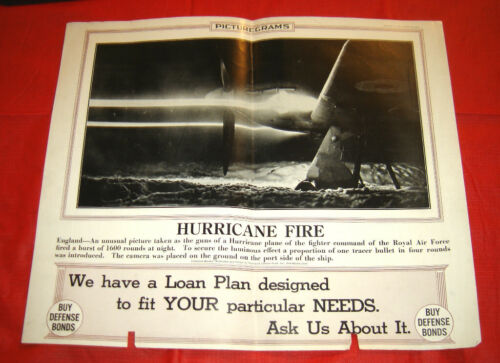 HAWKER HURRICANE FIRE ROYAL AIR FORCE PLANE MARCH 11 1942 POSTER ~ WWII Aircraft
