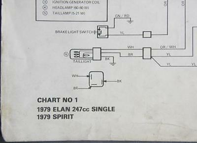 1979 ski-doo elan 247cc single & spirit electrical schematic chart no 1  eng/fr