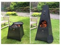 FIRE PIT / BBQ / PATIO HEATER ALL IN ONE WITH 1 SWING ARM BBQ RACK