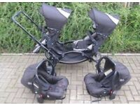 OBABY ABC TANDEM ZOOM DOUBLE PRAM WITH 2 NEWBORN CAR SEATS . PERFECT FOR TWINS.