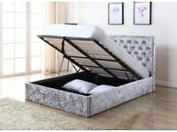 Free Delivery- New Double or King Crush Velvet Ottoman Storage Gas Lift Chesterfield Bed + Mattress