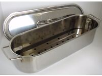 Stainless Steel Pan for Poaching or Steaming Fish or Gammon. Used once or twice. Only £8