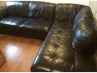 Csl rimini black leather corner sofa