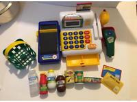 Children's grocery shopping set with cash register
