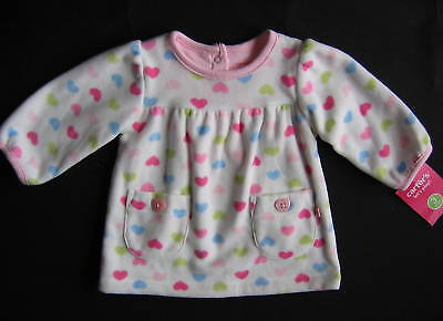 New Carter's Infant 3 Month Fleece Pink & Blue Heart Long Sleeve Shirt With Tag