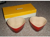 LE CREUSETS D'AMOUR - 2 X RED HEART SHAPED RAMEKINS IN ORIGINAL BOX