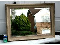 Large Gilt Framed Bevelled Shabby Chic Mirror