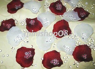 400 Rosenblätter Streudeko Hochzeit Deko Tischdeko Konfetti Neu weinrot weiß Weinblätter