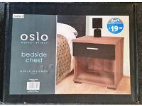 Oslo Walnut Effect Bedside Unit / Cabinet