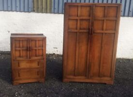 Solid oak heavy wardrobe and drawers cabinet